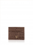 Grange Leather Crocodile Effect Card Holder in Brown