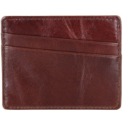 Berchirly RFID Small Card Case Top Layer Leather Wallet Men Purse Chocolate