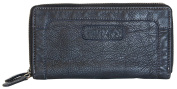 Metal double-zip-around black soft wallet Green Valley made of greatest quality soft leather