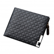 Yiwa Men Embossing Bifold Wallet Soft PU Leather Crosswise Business Zipper Purse