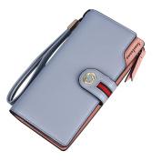 GTUKO RFID Women'S Leather Wallet Bifold Multi Card Case Wallet Clutch Long Purse , Grey Blue