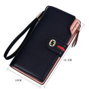 GTUKO RFID Women'S Leather Wallet Bifold Multi Card Case Wallet Clutch Long Purse , Black