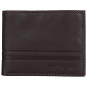 Ben Sherman Men's Leather Bi-Fold Five Pocket Wallet with Id Window (Rfid), Brown