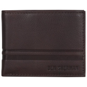 Ben Sherman Men's Leather Nine Pocket Passcase Wallet with Id Window (Rfid), Brown