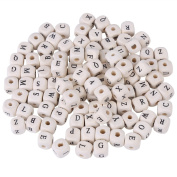 100pcs Mixed Wooden Letter Square Bead, Wood Cube Loose Spacer Beads for DIY Craft Jewellery Making