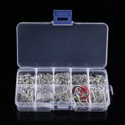 Jewellery Making Starter DIY Kit Including Silver Head Pins Chain Beads with Plastic Box for DIY Jewellery Handmake Accesories