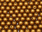 100pcs Czech Pressed Glass Beads Round 3mm, Brass Gold
