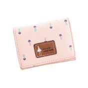 Tianfuheng Women's Faux Leather Short Wallet, Floral Little Girl Designs Coin Purse Card Holder