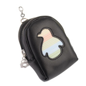 Kanggest Little Girl Purse Fashion Zipped Purse with Keyring Loop Creative PU Leather Penguin Pattern Charm Mini Coin Wallet Bag for Women Girl Kids Gift