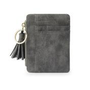 Bluelans Faux Leather Mini Tassel Pendant Women Card Holder Coin Purse Keychain Wallet