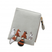 Tianfuheng Womens Girls Cute Embroidery Animal Leather Coin Purse Card Holder Short Wallet