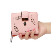 Tianfuheng Womens Girls Short Leather Hollow Leaves Credit Card Holder Clutch Purse Wallet