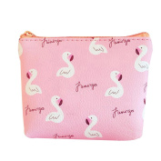 Sundatebe Cute Coin Purse Flamingo Faux Leather Pouch Wallet Pouch Bag with Zipper