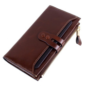prelikes Women Trifold Genuine Leather Detachable Long Wallet Removable Card Carrier Case