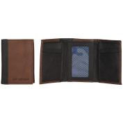 Ben Sherman Men's Leather Trifold Wallet with Id Window (Rfid), Brown with Black Colour Block