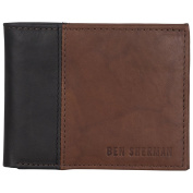 Ben Sherman Men's Leather Five Pocket Bi-Fold Wallet with Id Window (Rfid), Brown with Black Colour Block