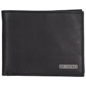 Ben Sherman Men's Leather Five Pocket Bi-Fold Passcase Wallet with Id Window (Rfid), Black