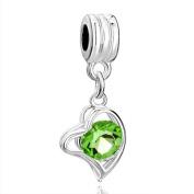 RUBYCA 10Pcs Heart Dangle Pendant Charm Beads Crystal Rhinestone European Bracelet Peridot Green