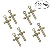 Tinksky 100pcs Cross Pendant Charms for DIY Jewellery Making and Crafting Jewellery Findings Crafts Alloys Necklace Bulk Supply Accessoires