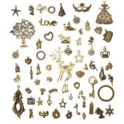 Jeteven A Set of Christmas Vintage Charms Pendants Bronze Antique Charm Pendants Set for DIY Handmade Necklace Pendants