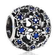 Openwork Starry Night Star Bead Charm Solid 925 Sterling Silver Charms for European Bracelets
