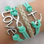 Fengh Fasion Handmade Anchor Multilayer Charms Love Wrist Jewellery Bracelet