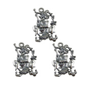 JulieWang 36pcs Antiqued Silver Wizard with Broom Magic World Charms for Jewellery Halloween