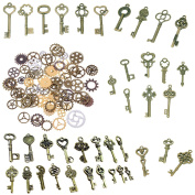 BESTIM INCUK 120 Gramme Antique Bronze Vintage Skeleton Keys Steampunk Gears Cogs Charms Pendant Clock Watch Wheel for Jewellery Making Supplies, Steampunk Accessories, Craft Projects