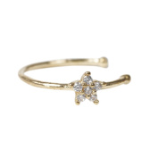 CHIC*MALL Small Thin Clear Rhinestone Flower Ring Charm Nose Ring jewellery Fashion Silver