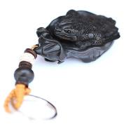 DIY accessories / ebony / natural carved / wood carvings / jewellery / lotus leaf / toad / key holder