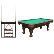 Sportcraft 2.3m Ball and Claw Billiard Pool Table with Cue Rack and Accessories
