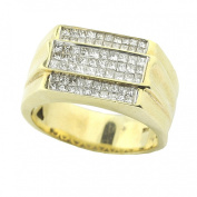 14K Gold Mens Wedding or Fashion Ring 12mm Wide 1.1cttw Princess Cut Diamonds