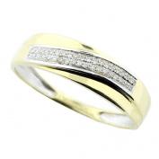 10K Gold Mens Wedding band 5.5mm Wide 1/10cttw Diamonds