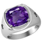 Orchid Jewellery Sterling Silver Father's Day Amethyst & Diamond Ring