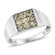Madagascar Yellow Apatite Platinum Over Sterling Silver Men's Ring (Size 10.0) TGW 1.160 cts.