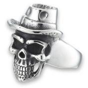 Halloween Men's Large New Stainless Steel Skull Biker Ring - Sizes 8-15