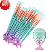UPXIANG 11PCS Make Up Brushes Kits, Fish Scale Makeup Brush Fishtail Bottom Brush Sets, Powder Eyeliner Eyeshadow Blush Makeup Cosmetic Concealer Brush Kits