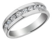 Mens Diamond Wedding Band 9/10 Carat (ctw) in 10K White Gold