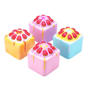 Yellow Vlampo Squishy Jumbo Strawberry Cake Bakery Cupcake Cube Slow Rising Original Packaging Collection Toy Gift