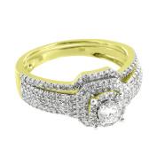 Solitaire Genuine Diamond Ring Engagement Wedding Womens 2 Pc Band Ladies Classy