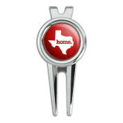 Texas TX Home State Golf Divot Repair Tool and Ball Marker - Textured Red