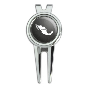 Mexico Home Country Golf Divot Repair Tool and Ball Marker - Textured Dark Grey Grey