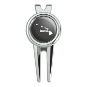 Hawaii HI Home State Golf Divot Repair Tool and Ball Marker - Solid Dark Grey Grey