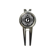 Letter G Initial Black and White Scrolls Golf Divot Repair Tool