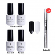 Born Pretty Nail Art UV Gel Polish Soak Off Balck White Top Base Coat with Gift Cuticle Oil Manicure Kit