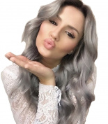 Fashion Women Wigs Synthetic Grey Ombre Wigs Reddish Brown Roots Middle Part Long Wavy Curly Two Tone Grey Wigs