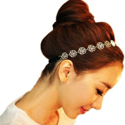 Fostly Romantic Gothic Style Elegent Lace Metal Headband Elastic Hair Bands For Lady Women Girls
