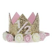 Jiacheng29 Baby Girl Crown Letter Shiny Sequins Flower Headwear Birthday Festival Headband