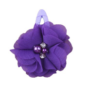 ZHUOTOP Toddler Baby Girls Chiffon Wrap Clip Barrettes Kids Solid Flower Hair Clips Headwear Hair Accessories Dark Purple 15#
