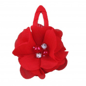ZHUOTOP Toddler Baby Girls Chiffon Wrap Clip Barrettes Kids Solid Flower Hair Clips Headwear Hair Accessories Red 4#